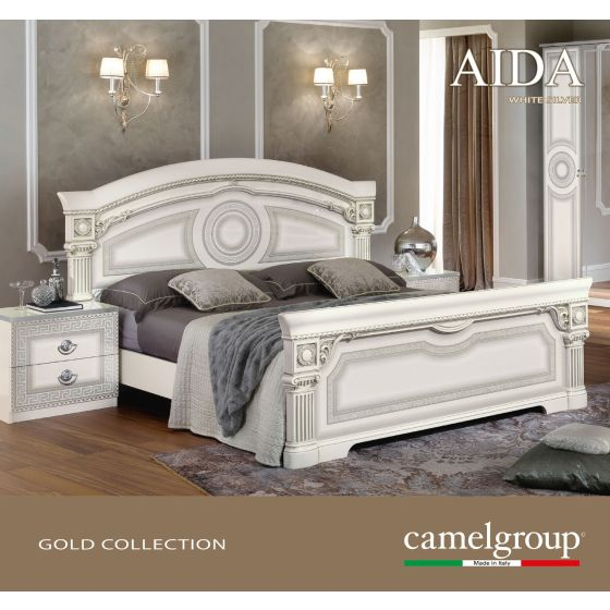 ✅ Aida Classic Queen Bed by ESF, White and Silver | VivaSalotti.com | pic