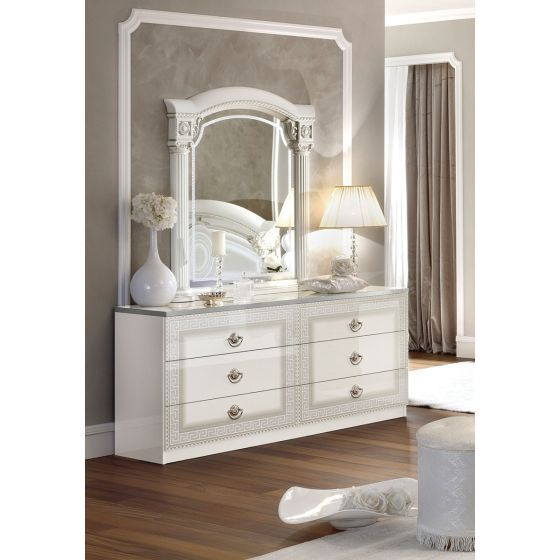 ✅ Aida Classic Double Dresser by ESF, White and Silver | VivaSalotti.com | pic