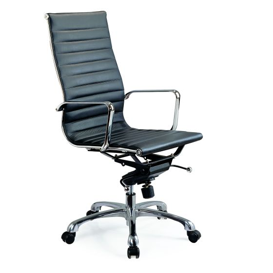 ✅ Comfy High Back Adjustable Leather Swivel Office Chair, Black | VivaSalotti.com | pic1