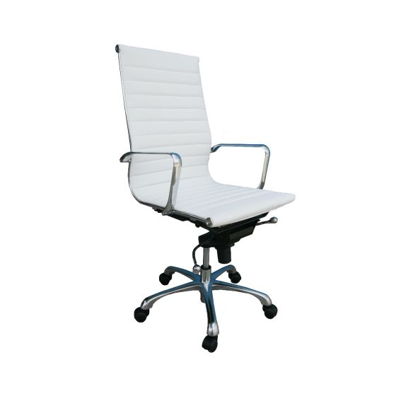 ✅ Comfy High Back Adjustable Leather Swivel Office Chair, White | VivaSalotti.com | pic2