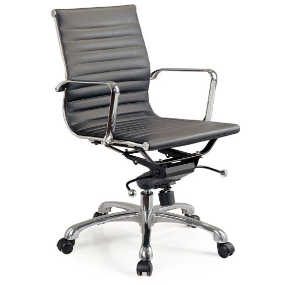 ✅ Comfy Low Back Adjustable Leather Swivel Office Chair, Black | VivaSalotti.com | pic2