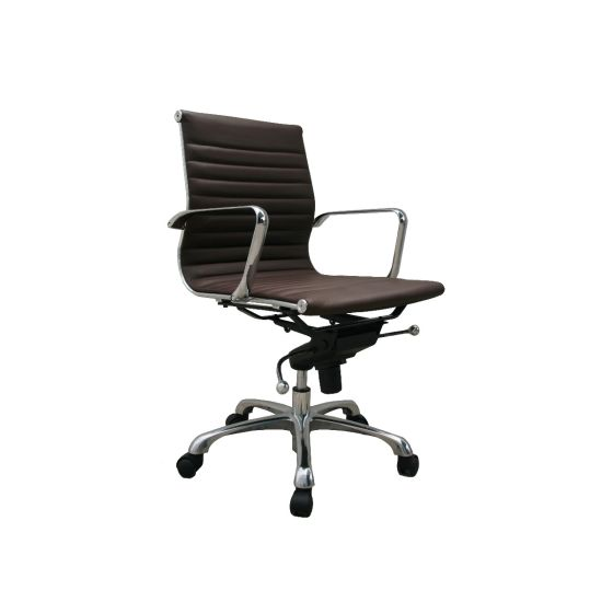 ✅ Comfy Low Back Adjustable Leather Swivel Office Chair, Brown | VivaSalotti.com | pic2