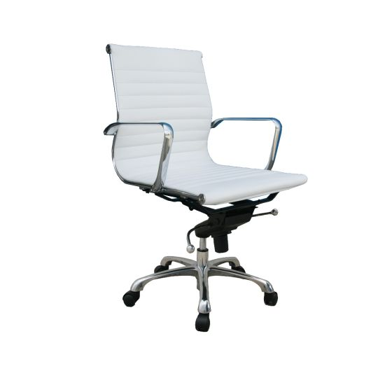 ✅ Comfy Low Back Adjustable Leather Swivel Office Chair, White | VivaSalotti.com | pic2
