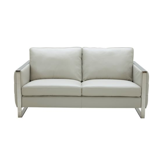 ✅ Constantin Premium Leather Loveseat, Light Grey | VivaSalotti.com | pic3