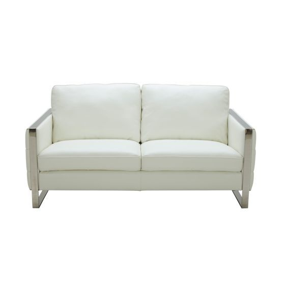 ✅ Constantin Premium Leather Loveseat, White | VivaSalotti.com | pic3