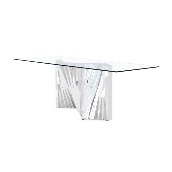 ✅ D2056DT Dining Table, Clear/Stainless Steel | VivaSalotti.com | pic