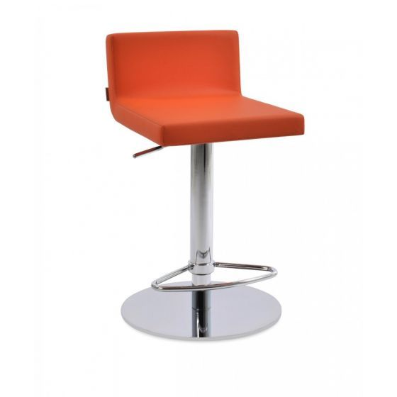 ✅ Dallas Piston Leatherette Round Base Steel Stool, Orange | VivaSalotti.com | pic2