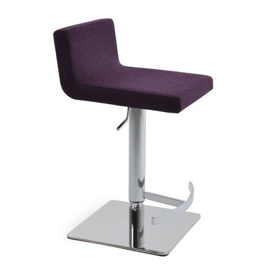 ✅ Dallas Camira Blazer Wool Piston Square Base Steel Stool, Deep Maroon | VivaSalotti.com | pic2