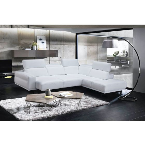 ✅ Davenport Leather Sectional in Right Facing, Snow White | VivaSalotti.com | pic5