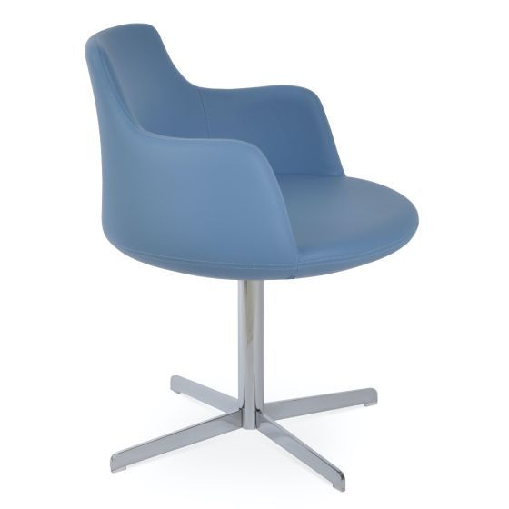 ✅ Dervish 4 Star Leatherette Swivel Dining Chair w/Metal Base, Blue | VivaSalotti.com | pic2