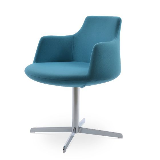 ✅ Dervish 4 Star Camira Era Fabric Swivel Dining Chair w/Metal Base, Turquoise | VivaSalotti.com | pic2