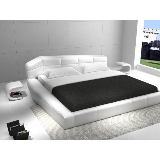 ✅ Dream Modern Leather King Size Platform Bed, White | VivaSalotti.com | pic