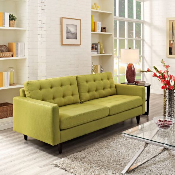 ✅ Empress Upholstered Fabric Sofa (Wheatgrass) | VivaSalotti.com | pic