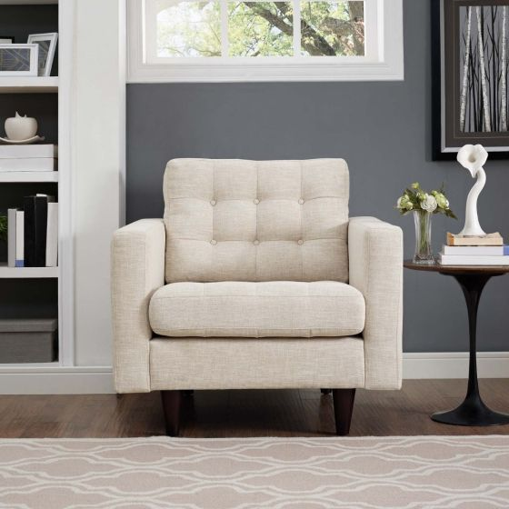 ✅ Empress Upholstered Fabric Armchair (Beige) | VivaSalotti.com | pic