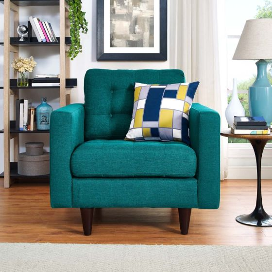 ✅ Empress Upholstered Fabric Armchair (Teal) | VivaSalotti.com | pic