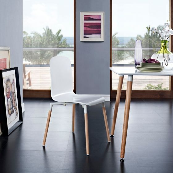 ✅ Stack Dining Wood Side Chair (White) | VivaSalotti.com | pic