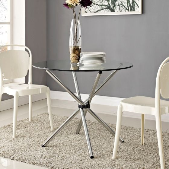 ✅ Baton Round Dining Table (Clear) | VivaSalotti.com | pic