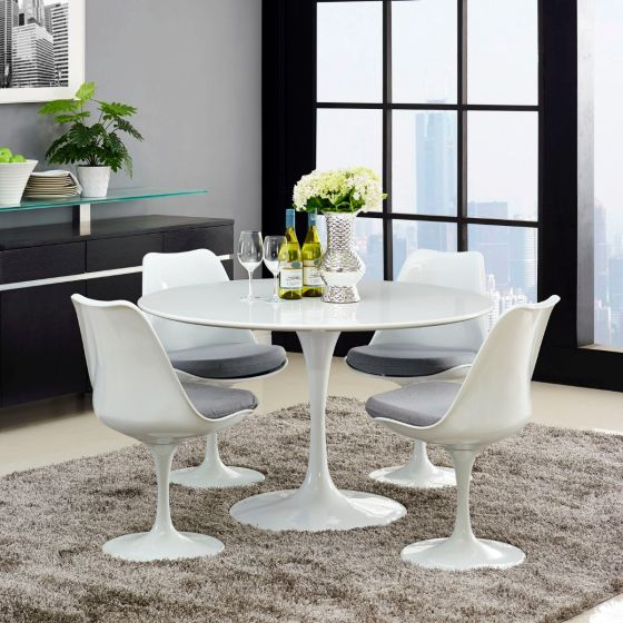 "✅ Lippa 47"" Round Wood Top Dining Table (White) 