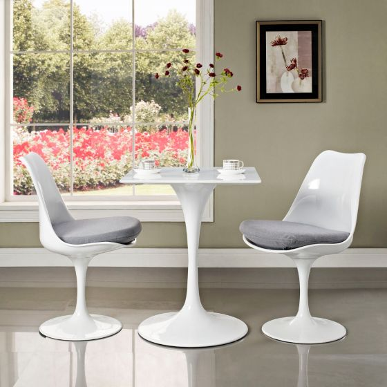 "✅ Lippa 24"" Square Wood Top Dining Table (White) 