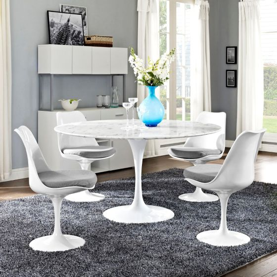 "✅ Lippa 54"" Round Artificial Marble Dining Table (White) 
