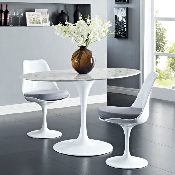"✅ Lippa 54"" Oval Artificial Marble Dining Table (White) 