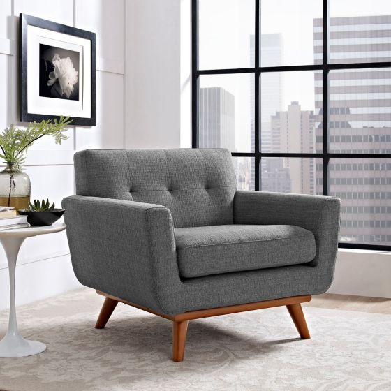✅ Engage Upholstered Fabric Armchair (Gray) | VivaSalotti.com | pic