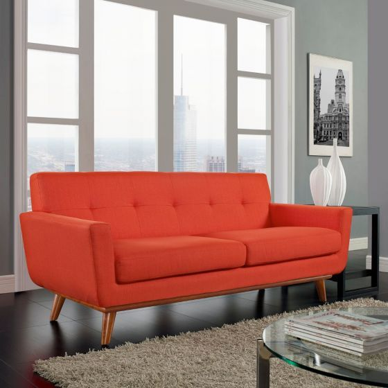 ✅ Engage Upholstered Fabric Loveseat (Atomic Red) | VivaSalotti.com | pic