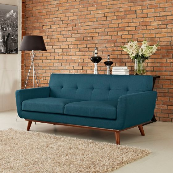 ✅ Engage Upholstered Fabric Loveseat (Azure) | VivaSalotti.com | pic