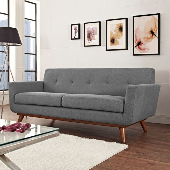✅ Engage Upholstered Fabric Loveseat (Expectation Gray) | VivaSalotti.com | pic