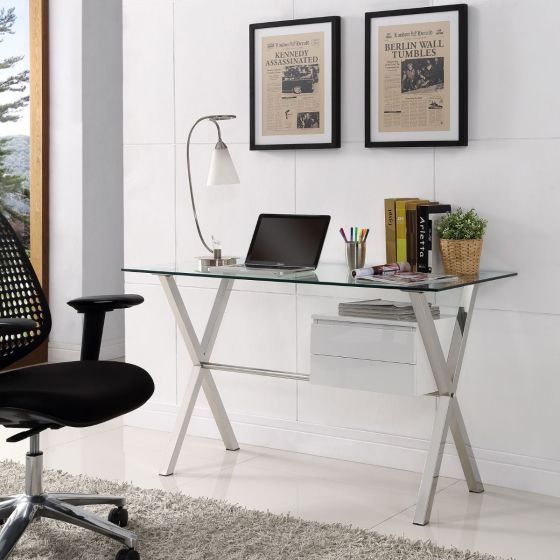 ✅ Stasis Glass Top Office Desk (White) | VivaSalotti.com | pic