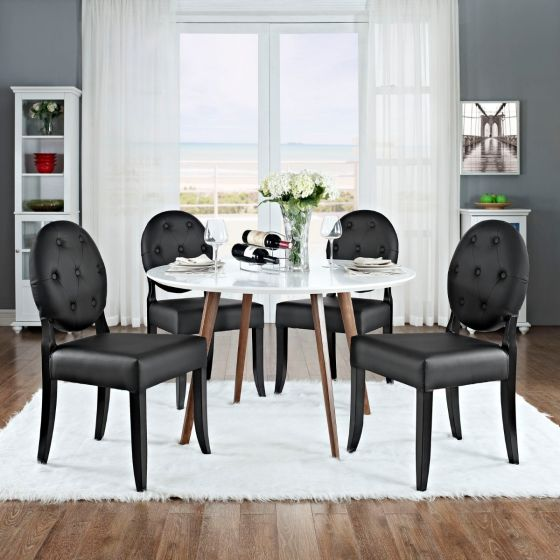 ✅ Casper Buttoned Dining Side Chair Set of 4 (Black) | VivaSalotti.com | pic