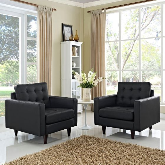 ✅ Empress Armchair Leather Set of 2 (Black) | VivaSalotti.com | pic