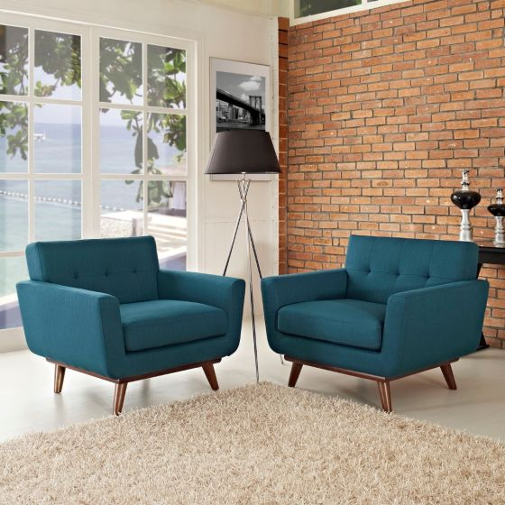✅ Engage Armchair Wood Set of 2 (Azure) | VivaSalotti.com | pic
