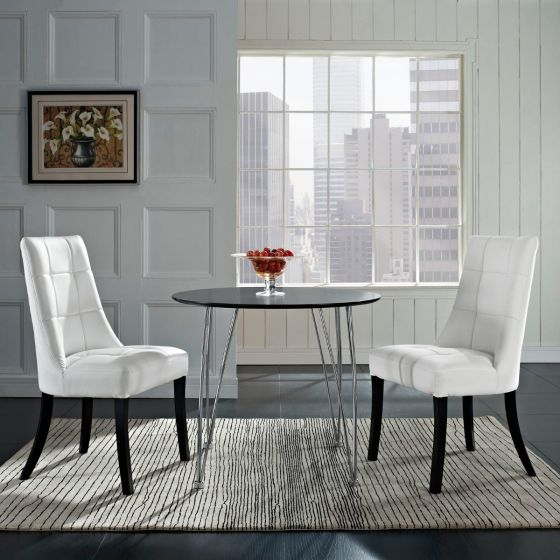 ✅ Noblesse Vinyl Dining Chair Set of 2 (White) | VivaSalotti.com | pic