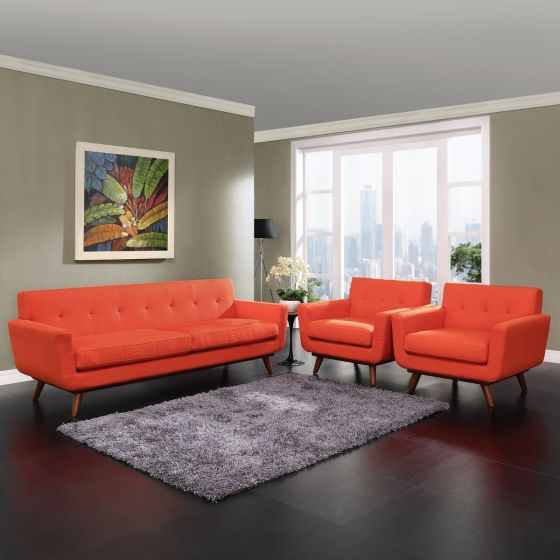 ✅ Engage Armchairs and Sofa Set of 3 (Atomic Red) | VivaSalotti.com | pic
