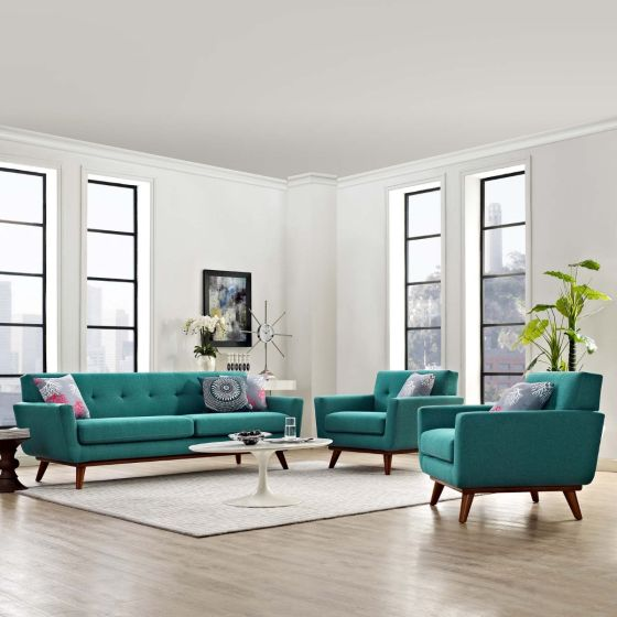 ✅ Engage Armchairs and Sofa Set of 3 (Teal) | VivaSalotti.com | pic