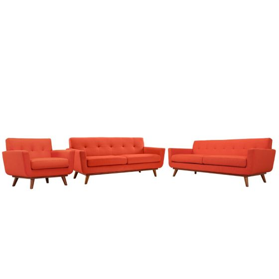 ✅ Engage Sofa Loveseat and Armchair Set of 3 (Atomic Red) | VivaSalotti.com | pic1