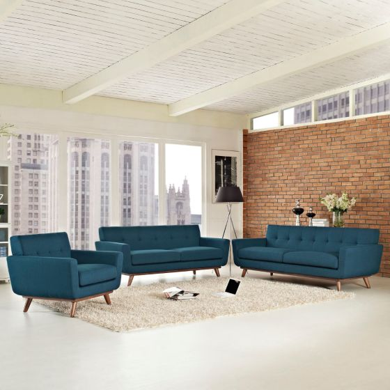 ✅ Engage Sofa Loveseat and Armchair Set of 3 (Azure) | VivaSalotti.com | pic