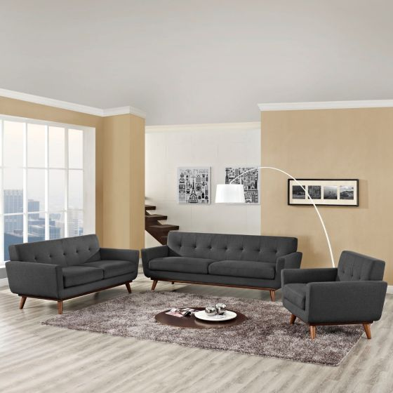 ✅ Engage Sofa Loveseat and Armchair Set of 3 (Gray) | VivaSalotti.com | pic
