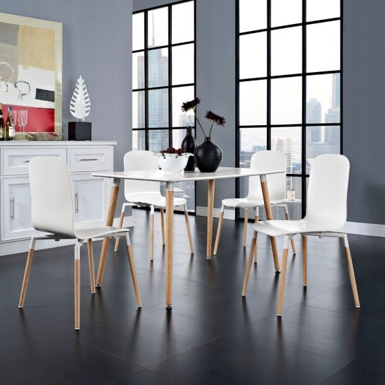 ✅ Stack Dining Chairs and Table Wood Set of 5 (White) | VivaSalotti.com | pic