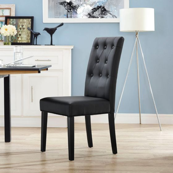 ✅ Confer Dining Vinyl Side Chair (Black) | VivaSalotti.com | pic