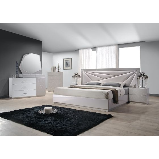 ✅ Florence Modern Leatherette Queen Size Platform Bed, White/Taupe | VivaSalotti.com | pic1