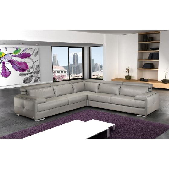 ✅ Gary Italian Leather Sectional, Grey | VivaSalotti.com | pic2