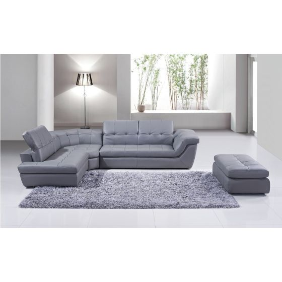 ✅ 397 Italian Leather Left Hand Facing Sectional, Grey | VivaSalotti.com | pic1