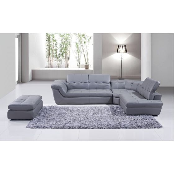 ✅ 397 Italian Leather Right Hand Facing Sectional, Grey | VivaSalotti.com | pic1