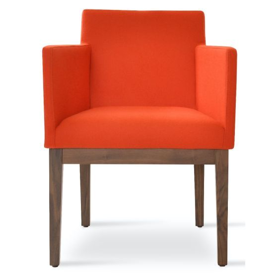 ✅ Harput Camira Blazer Wool Dining Armchair w/Wood Base, Orange | VivaSalotti.com | pic2