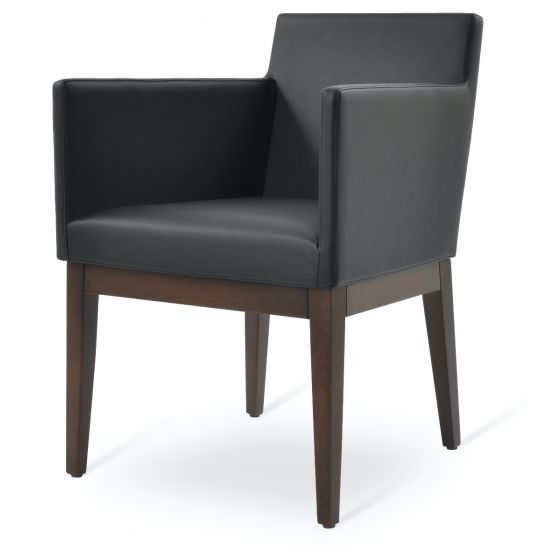 ✅ Harput Leatherette Dining Armchair w/Wood Base, Black | VivaSalotti.com | pic4