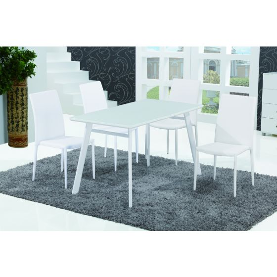 ✅ B24 Modern Rectangular Glass Dining Table, White High Gloss | VivaSalotti.com | pic1