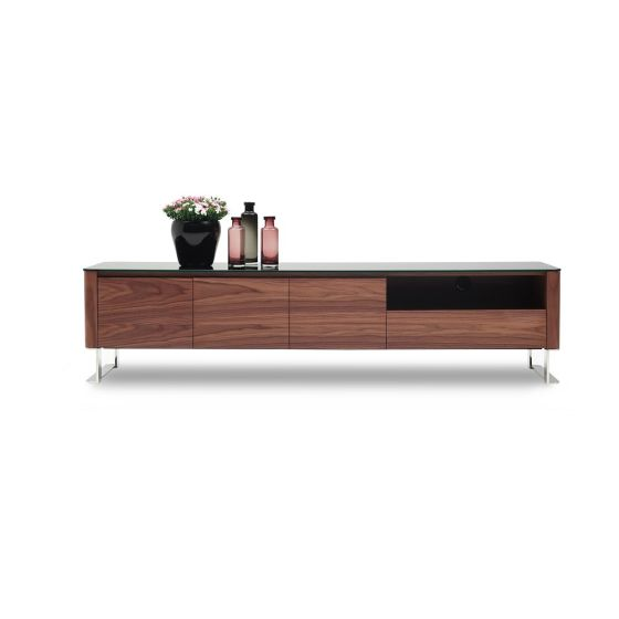 "✅ Julian Modern TV Base for TVs up to 78"", Walnut Veneer 