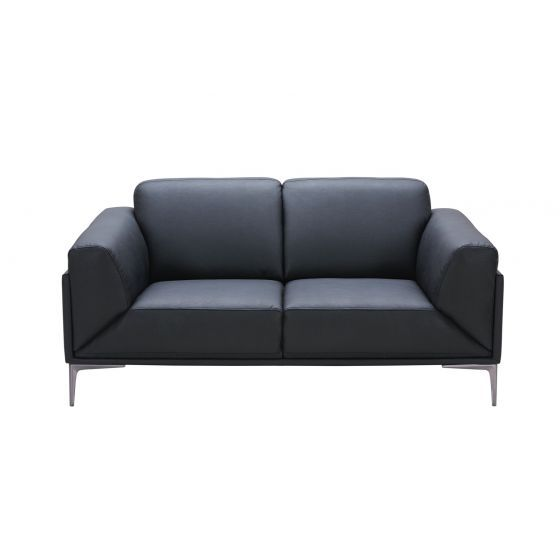 ✅ Knight Leather Loveseat, Black | VivaSalotti.com | pic2